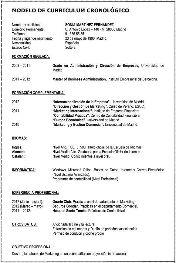 formatos de resume en word